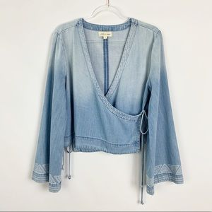 Cloth & Stone Flare Bell Sleeve Wrap Top